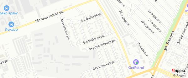 Бийская 5-я улица на карте Челябинска с номерами домов