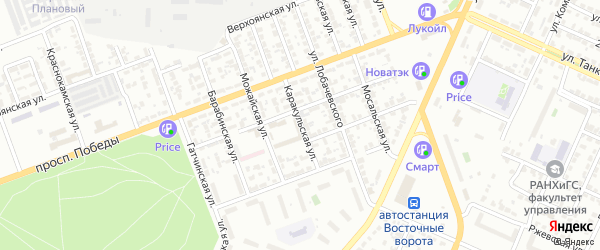 Каракульская улица на карте Челябинска с номерами домов