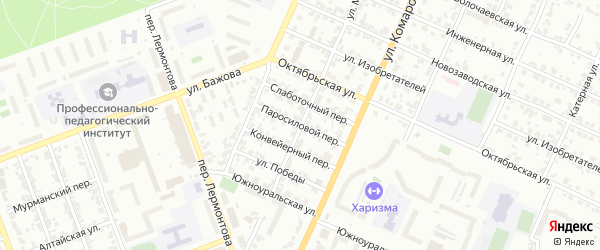 Паросиловой переулок на карте Челябинска с номерами домов