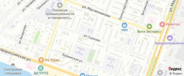 Улица Суркова на карте Челябинска с номерами домов