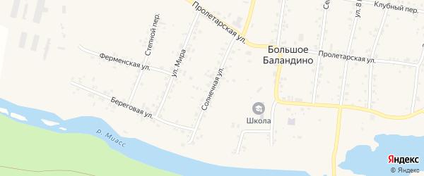 Солнечная улица на карте села Большое Баландино с номерами домов