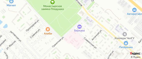 Гранитная улица на карте Челябинска с номерами домов