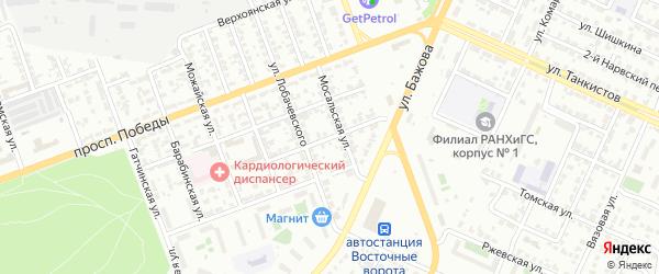 Радиальная 2-я улица на карте Челябинска с номерами домов