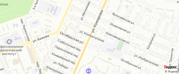 Улица Комарова на карте Челябинска с номерами домов