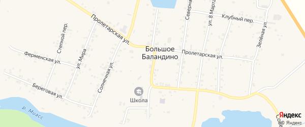 Озерная улица на карте села Большое Баландино с номерами домов
