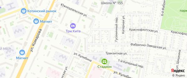 Моторный переулок на карте Челябинска с номерами домов