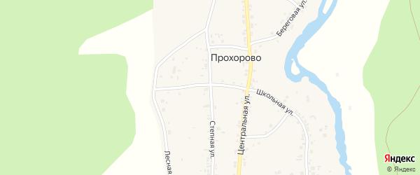 Степная улица на карте деревни Прохорово с номерами домов