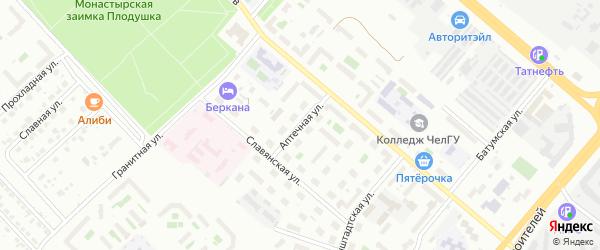 Аптечная улица на карте Челябинска с номерами домов