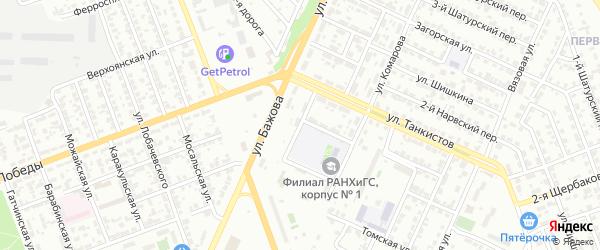 Бульварный 9-й переулок на карте Челябинска с номерами домов