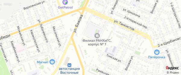 Бульварный 8-й переулок на карте Челябинска с номерами домов
