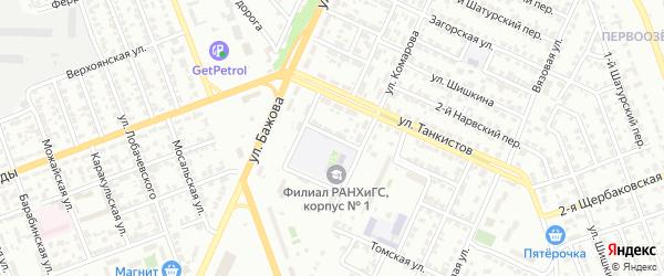 Бульварный 7-й переулок на карте Челябинска с номерами домов