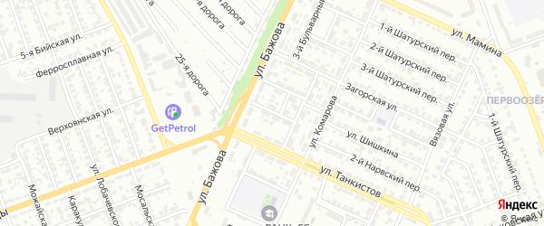 Бульварный 5-й переулок на карте Челябинска с номерами домов