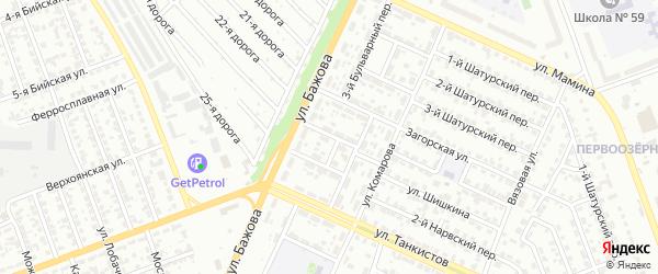 Бульварный 4-й переулок на карте Челябинска с номерами домов