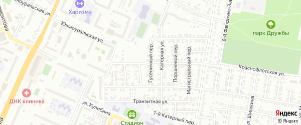 Гусеничный переулок на карте Челябинска с номерами домов