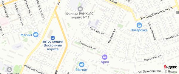 Томский 3-й переулок на карте Челябинска с номерами домов