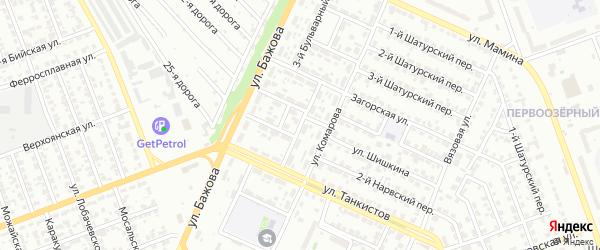 Бульварный 6-й переулок на карте Челябинска с номерами домов