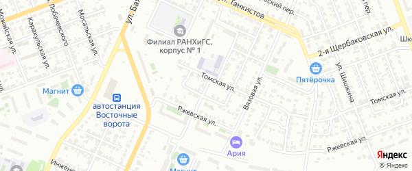 Томский 4-й переулок на карте Челябинска с номерами домов