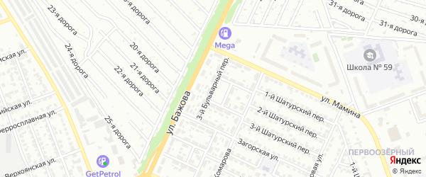Бульварный 3-й переулок на карте Челябинска с номерами домов
