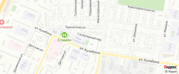 Катерный 1-й переулок на карте Челябинска с номерами домов
