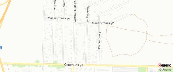 Улица Надежды на карте Копейска с номерами домов