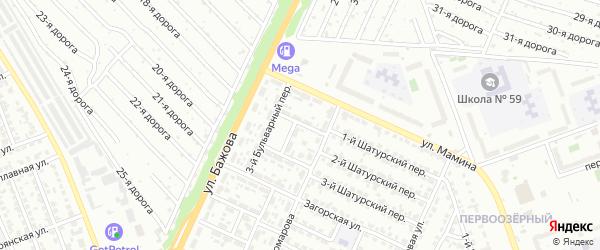 Бульварный 1-й переулок на карте Челябинска с номерами домов