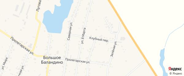 Клубный переулок на карте села Большое Баландино с номерами домов