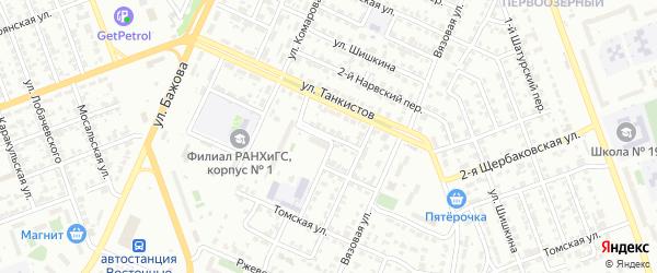 Томский 1-й переулок на карте Челябинска с номерами домов