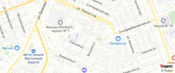 Кокчетавская улица на карте Челябинска с номерами домов