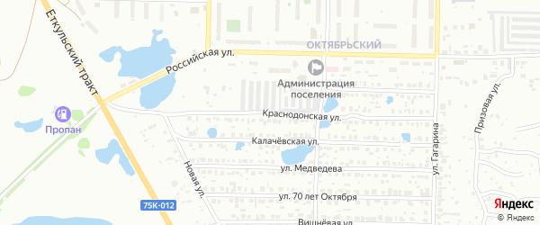 Краснодонская улица на карте Копейска с номерами домов