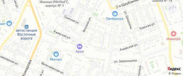 Ржевский 1-й переулок на карте Челябинска с номерами домов