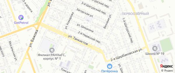 Нарвский 2-й переулок на карте Челябинска с номерами домов