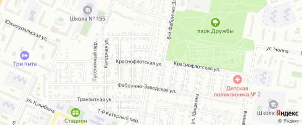 Краснофлотская улица на карте Челябинска с номерами домов