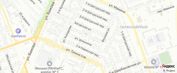 Нарвский 1-й переулок на карте Челябинска с номерами домов