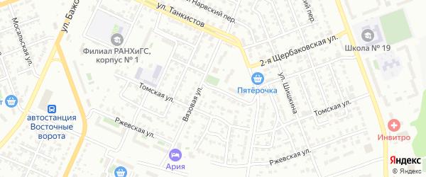 Томский 2-й переулок на карте Челябинска с номерами домов