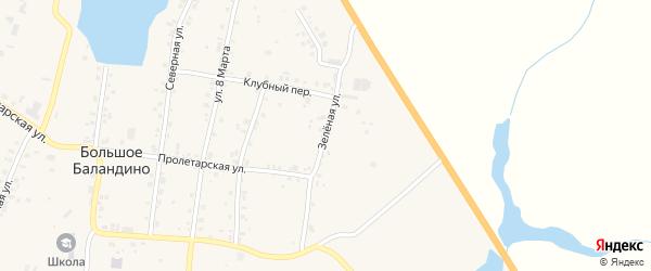 Зелёная улица на карте села Большое Баландино с номерами домов