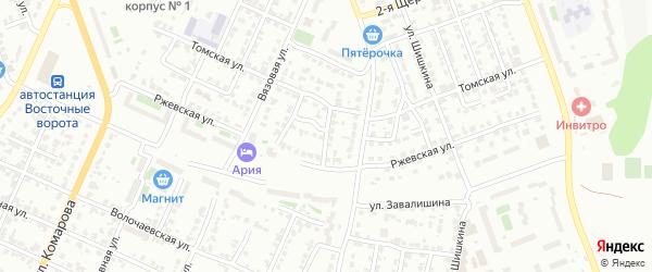 Ржевский 2-й переулок на карте Челябинска с номерами домов