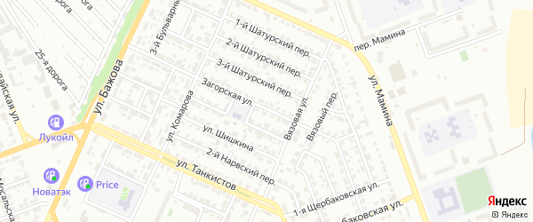 Загорская улица на карте Челябинска с номерами домов