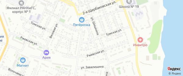 Бытовой 1-й переулок на карте Челябинска с номерами домов