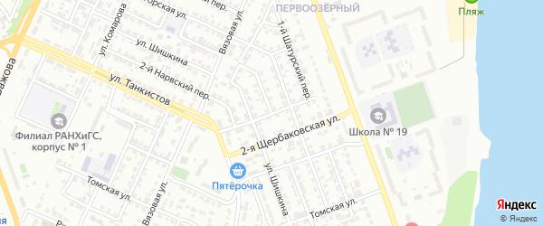 Щербаковская 1-я улица на карте Челябинска с номерами домов