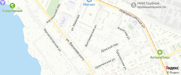 Житомирская улица на карте Челябинска с номерами домов