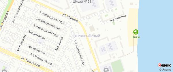 Территория ГСК Первоозерный на карте Челябинска с номерами домов