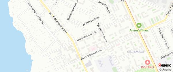 Цимлянская улица на карте Челябинска с номерами домов