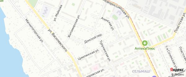 Донской переулок на карте Челябинска с номерами домов