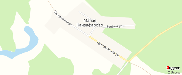Центральная улица на карте деревни Малого Канзафарово с номерами домов