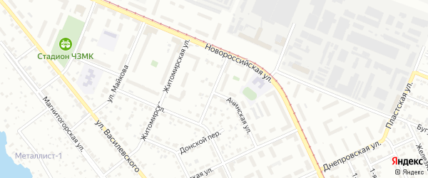 Петропавловский переулок на карте Челябинска с номерами домов