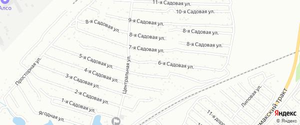 Хлебосад Садовая 6-я улица на карте Челябинска с номерами домов