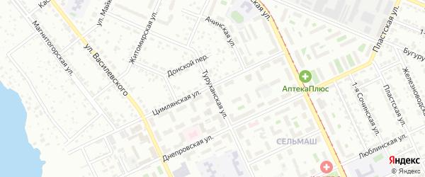 Туруханская улица на карте Челябинска с номерами домов