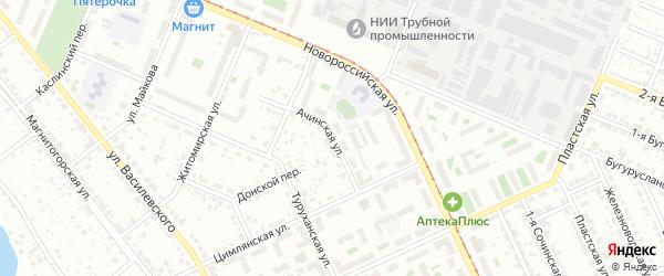 Ачинская улица на карте Челябинска с номерами домов