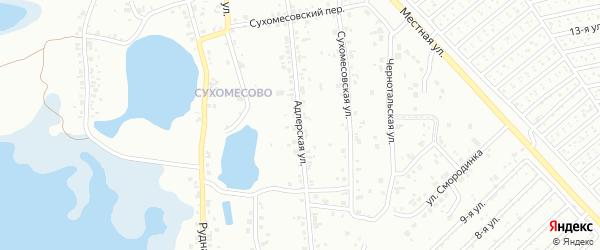 Улица Адлерская (Сухомесово) на карте Челябинска с номерами домов
