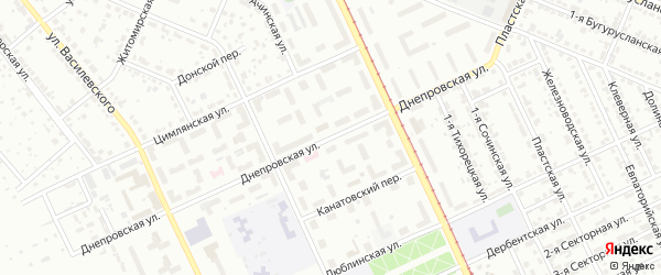 Днепровская улица на карте Челябинска с номерами домов